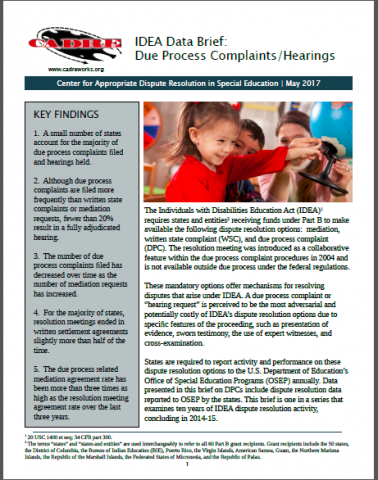 Cover of Due Process Complaint Data Brief