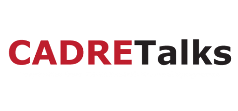 Cadre talks logo and slide text