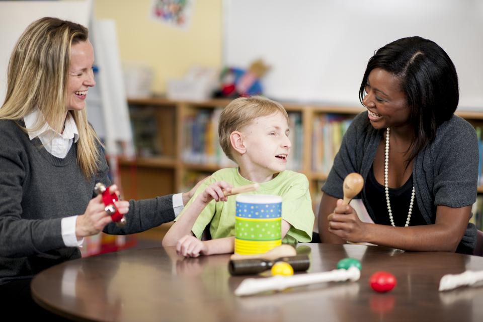 Disabled student learning with manipulatives